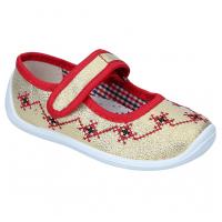 Тапочки текстильные золотые вышивка Даринка 02 TOBI 25-30 (Пара)