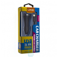 Автомобильное зарядное устройство LDNIO DL-C23 2USB 3.1A Lightning black