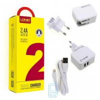 Сетевое зарядное устройство LDNIO A2203 2USB 2.4A Lightning white