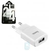 Сетевое зарядное устройство HOCO С27A 1USB 2.4A white